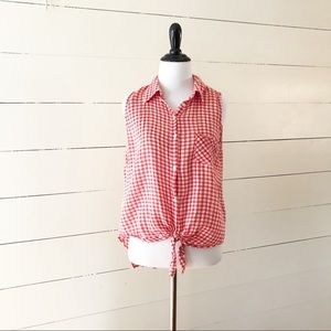 C&C California Red/White Gingham Tie Front Blouse